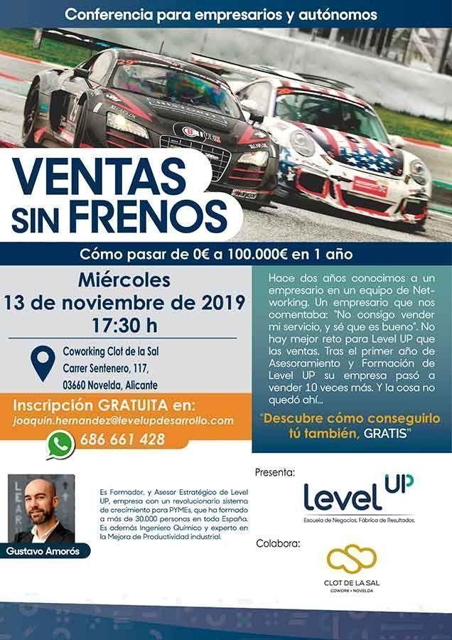 Clot de la Sal charla-level-up-cartel-entrada-blog Ventas sin frenos - Level Up